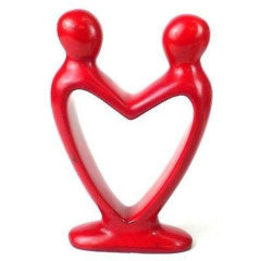 Handcrafted fairtrade Soapstone Lover's Heart Sculpture in Red