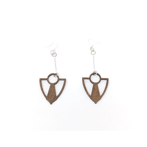 Wooden Art Deco Anchor Fan Earrings 1482 - Brown