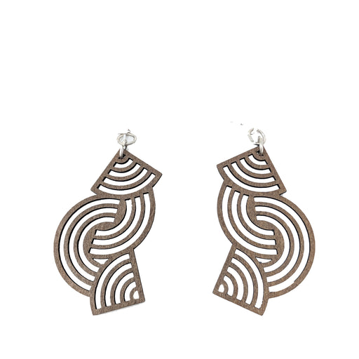 Wooden Tangled Directions Earrings 1508 - Brown