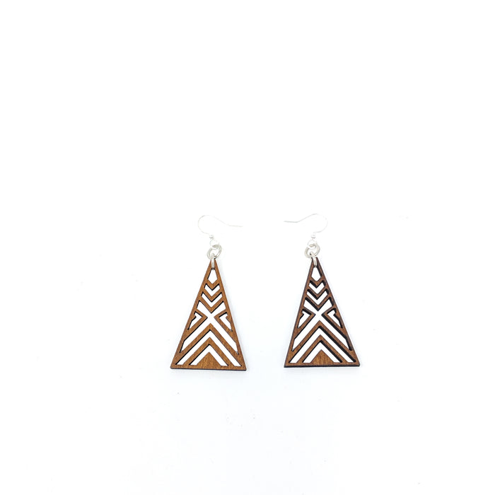 Wooden Interlocked Triangle Earrings 1075 - Cinnamon