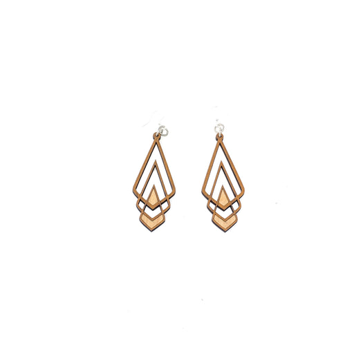 Wooden Chevron Deco Earrings 1039 - Cinnamon