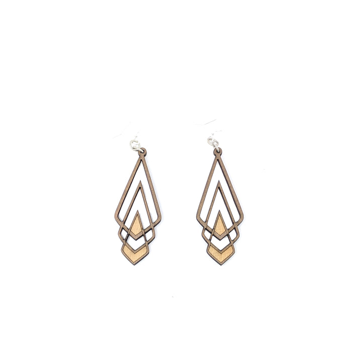 Chevron Deco Earrings 1039 - Brown
