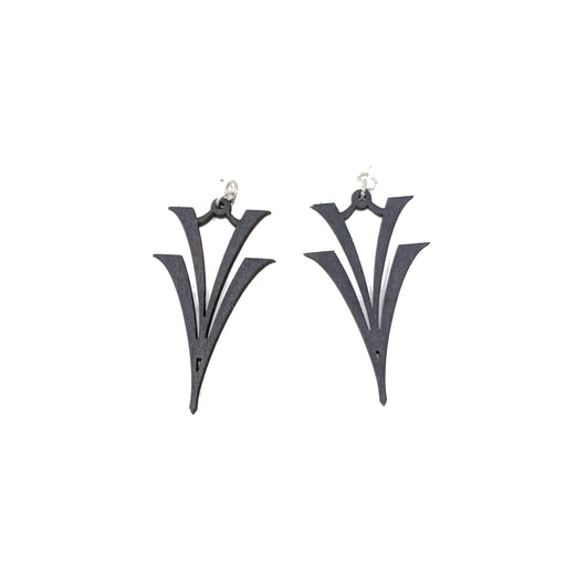 V on V Wood Earrings 1076 - Black Satin