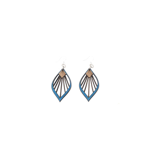 Fan Leaf Palm Earrings 1028- Royal Blue