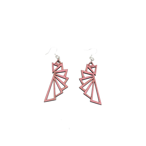 The Triangular Wood Earrings 1197- Pink