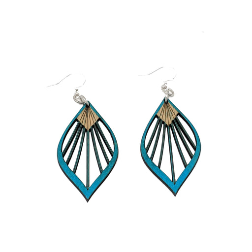 Fan Leaf Palm Earrings 1028 - Aqua Marine