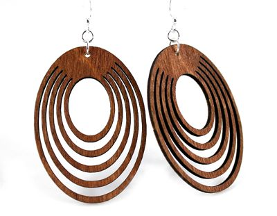 Oval Offset Earrings 1023 - Cinnamon