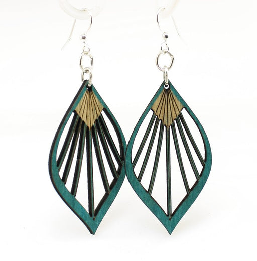 Wooden Fan Leaf Palm Earrings 1028 - Teal
