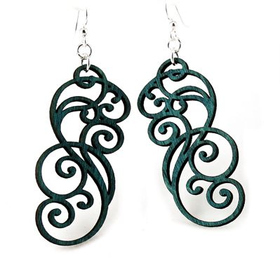 Filigree Scroll Wood Earrings 1074- Kelly Green