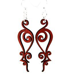 Iron Loop Wooden Earrings 1349 - Cherry Red