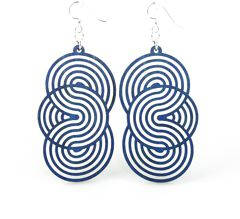 Seamless Circle Wood Earrings 1373- Royal Blue