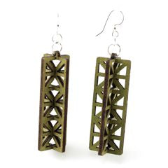 3D Structure Wood Earrings 1433 - Apple Green