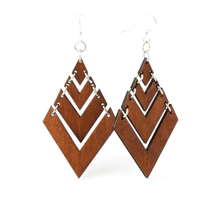 Wooden Fountain Pyramid Earrings 1440 - Cinnamon