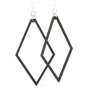 Large Wooden Diamond Earrings 1449 - Black Satin