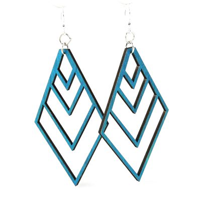 Wooden Upside-down Fountain Pyramid Earrings 1450 - Teal