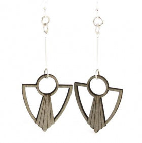 Wooden Art Deco Anchor Fan Earrings 1482 - Gray