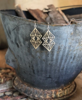 Wooden Dueling Diamonds Earrings 1586 - Natural Wood