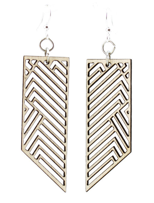 Wooden Rectangular Rhapsody Earrings 1597 - Natural Wood