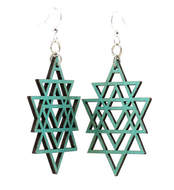 Wooden Triangled Earrings 1598 - Teal