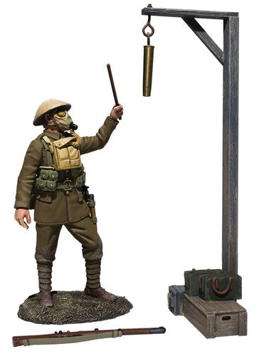 """Gas Alarm"" British Soldier with Gas Mask, Sounding Alarm, 1917-18"