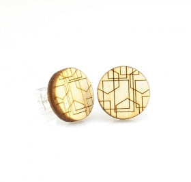 Geometric Lines Wooden Stud Earrings 3009