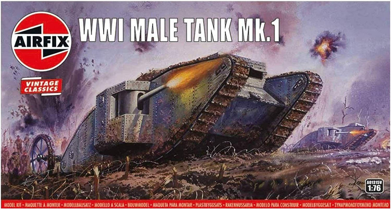 Airfix WWI Male Tank MK I 1:76 Vintage Classics Military Plastic Model Kit A01315V