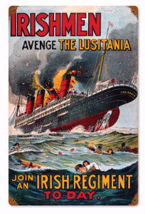 "Metal Sign - ""Avenge the Lusitania"""