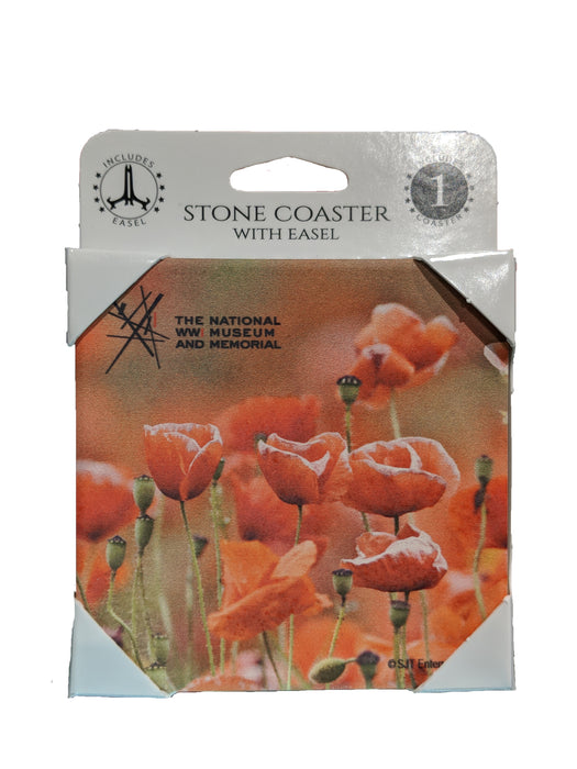 Field of Poppies Coaster w/Easel