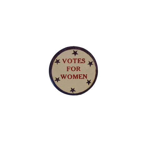 "Round Sticker - Red, White, and Blue - ""Votes for Women"""
