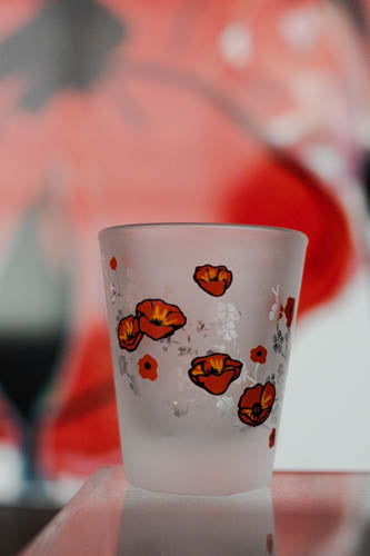 Frosted Poppy Shot Glass