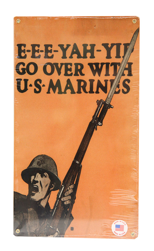 Metal Sign - Go Over With the Marines