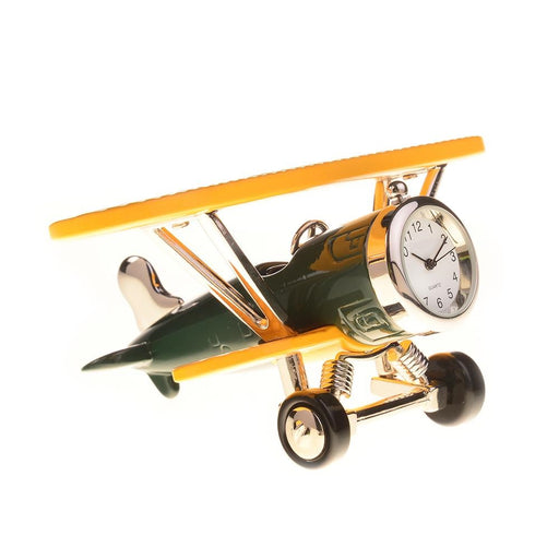 Sanis Large Biplane Clock Green/Yellow