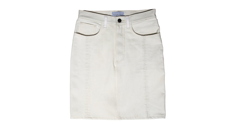 Vintage Denim Skirt - White