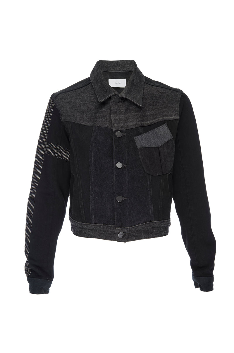 Black Denim Metal Motor Jacket