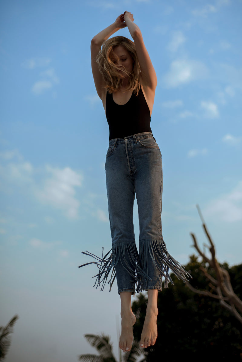 Indigo High-Waist Denim with Fringe