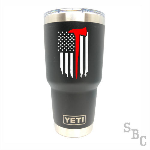 Fireman Ax Flag Yeti Rambler Tumbler - Small Batch Customs