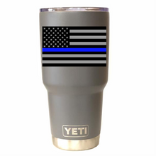 Police Subdued Blue Line Flag Yeti Rambler Tumbler Cup - Small Batch Customs