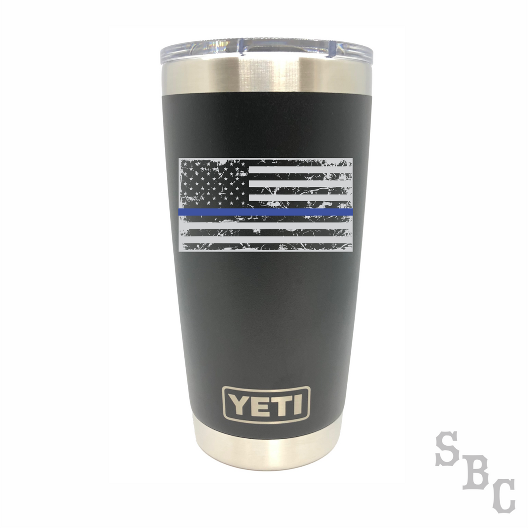 Blue Line Flag Police Yeti Rambler Tumbler - Small Batch Customs