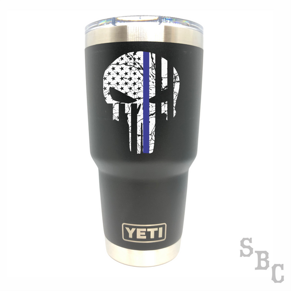 Blue Line Punisher Police Yeti Rambler Tumbler - Small Batch Customs