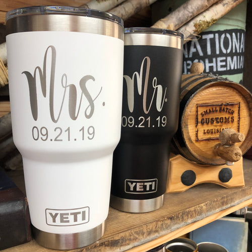Mr and Mrs Gift Set Yeti Tumblers with Wedding Date - Small Batch Customs