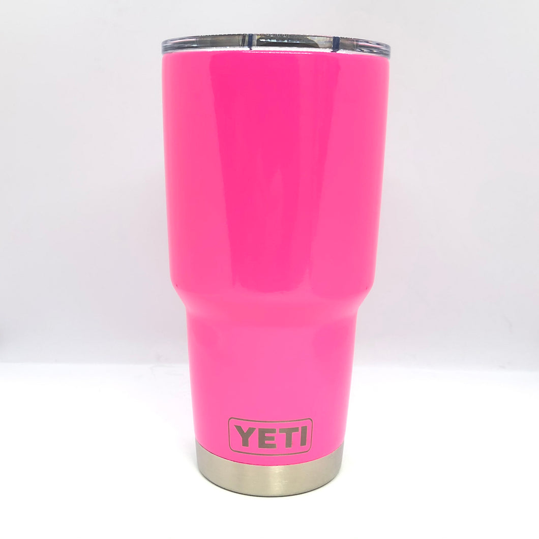 Neon Pink Yeti Rambler Tumbler - Small Batch Customs