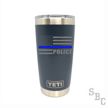 Police Blue Line Flag Yeti Rambler Duracoat - Small Batch Customs