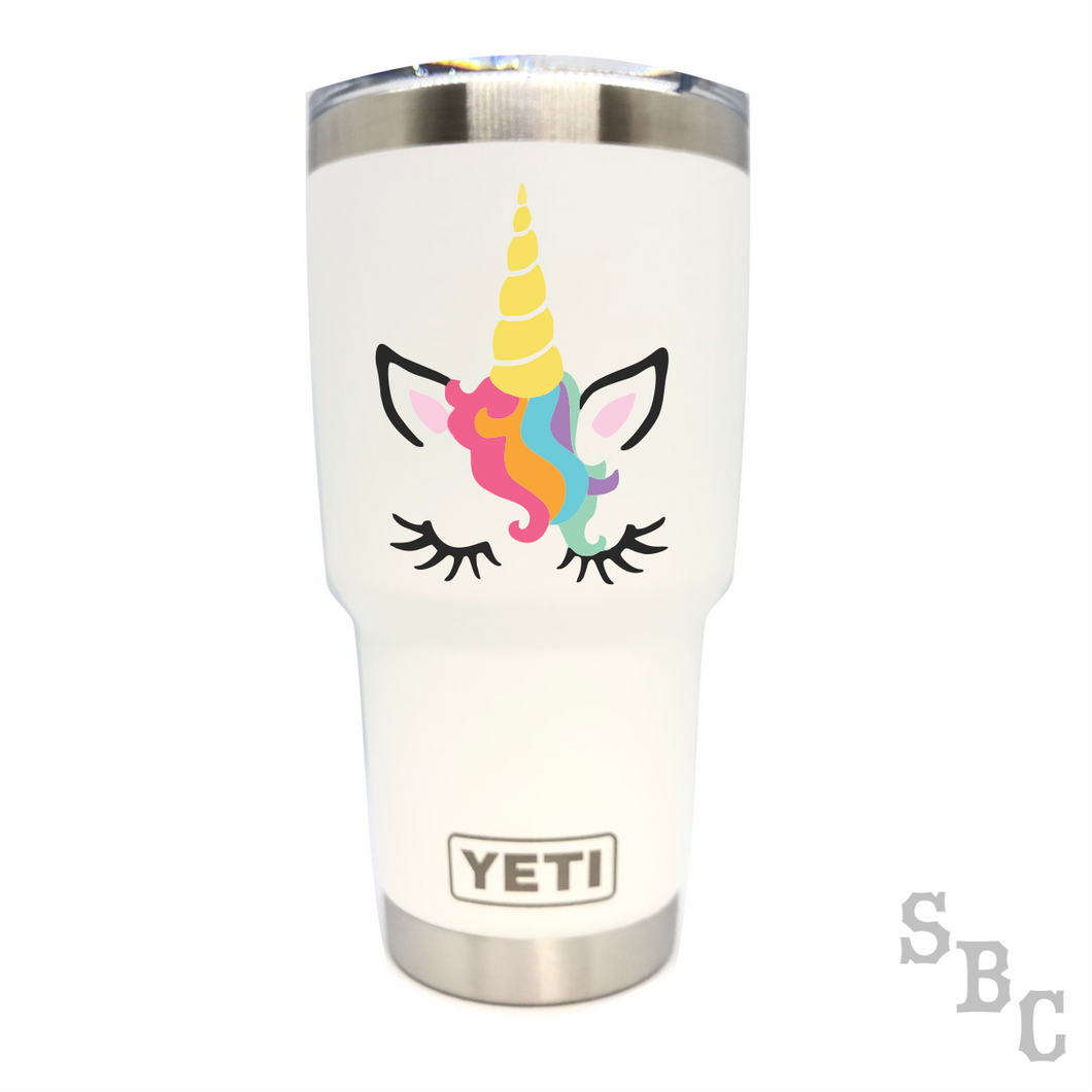 Unicorn Face Yeti Rambler Tumbler Cup - Small Batch Customs