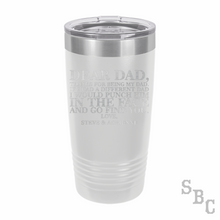 Dear Dad Laser Etched Tumbler