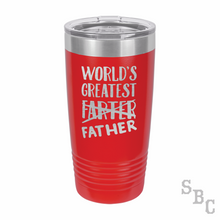 World's Greatest Farter Father's Day Laser Etched Tumbler