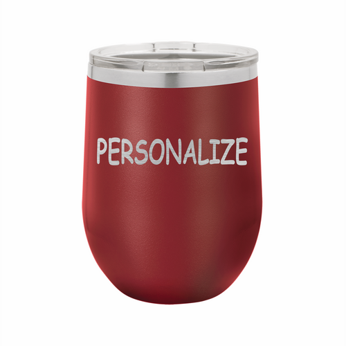 Personalized (Custom) Stainless Steel Insulated 12 oz Wine Cup - Small Batch Customs