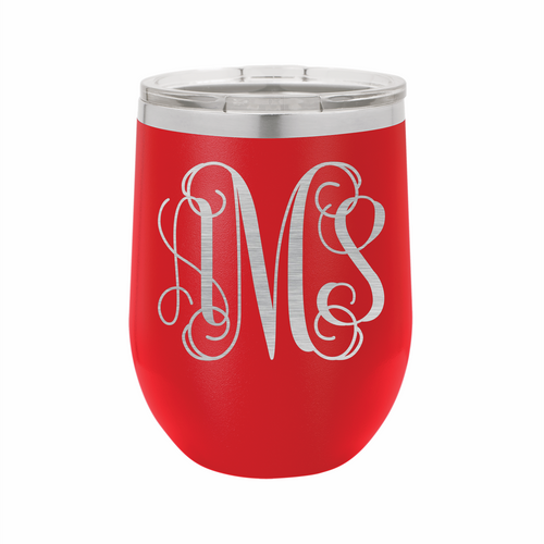 Monogram Stainless Steel Insulated 12 oz Wine Cup - Small Batch Customs
