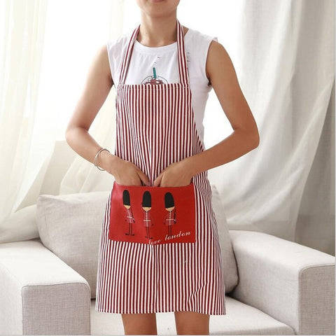 Linen Stripe Kitchen Apron