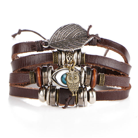 Unisex Punk Design Turkish Eye Owl Leather Bracelet
