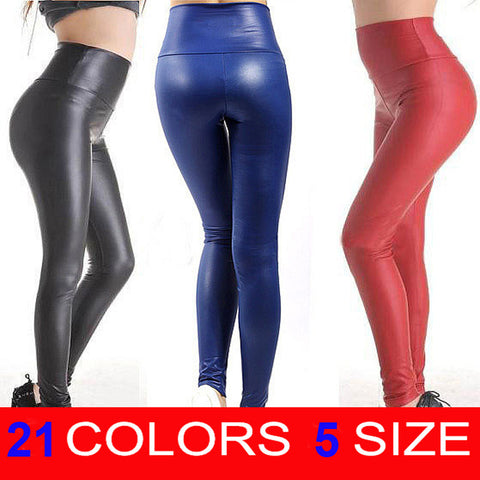 2018 Sexy Skinny Faux Leather High Waist Leggings Pants